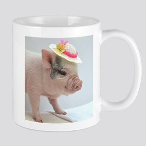 Micro pig with Summer Hat Small Mug