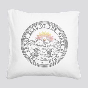 Vintage Ohio State Seal Square Canvas Pillow