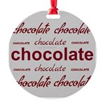 Silver Celebrate Chocolate Round Ornament