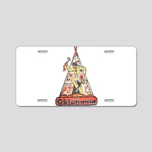 Vintage Oklahoma Indian Aluminum License Plate