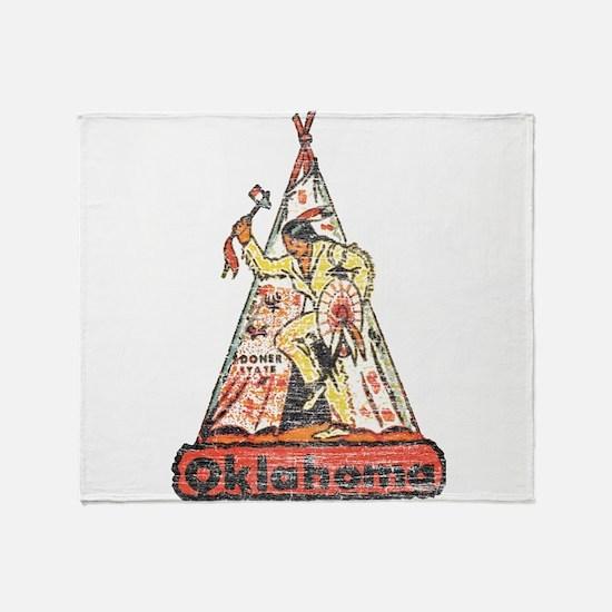 Vintage Oklahoma Indian Throw Blanket