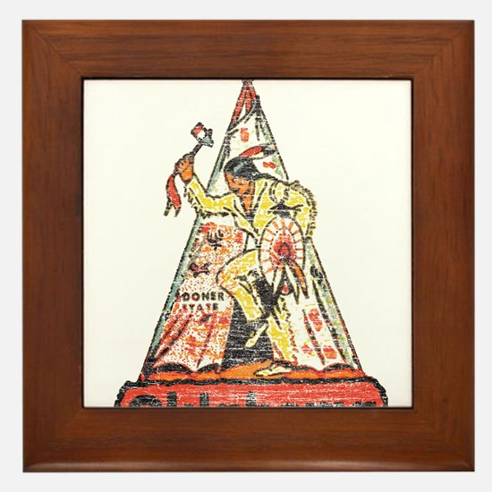 Vintage Oklahoma Indian Framed Tile