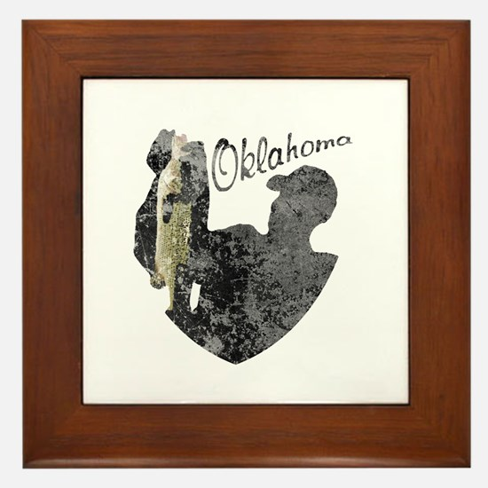 Oklahoma Fishing Framed Tile