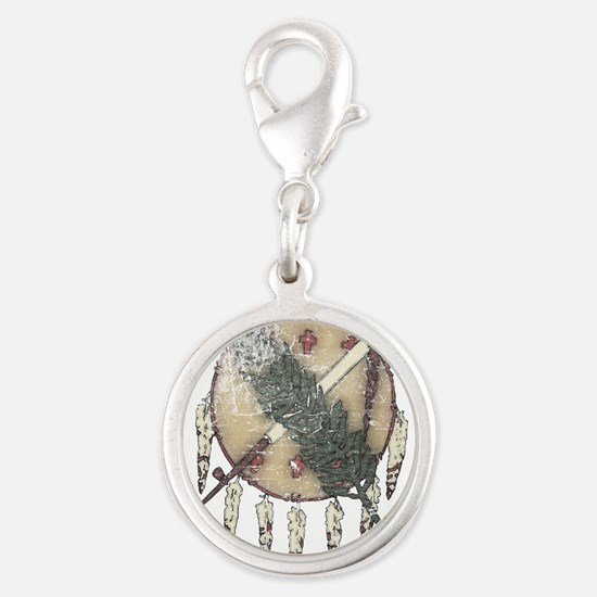 Faded Dreamcatcher Silver Round Charm