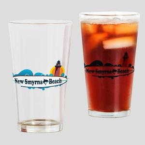 New Smyrna Beach - Surf Design. Drinking Glass