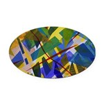 The City I Abstract Oval Car Magnet