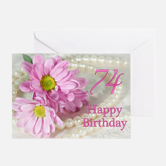 74th Birthday card with daisies Greeting Card