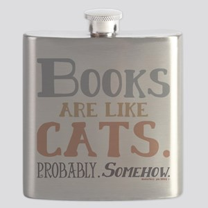 Books are like cats Grey Flask