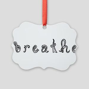 breathe word art sign black fabric font Ornament