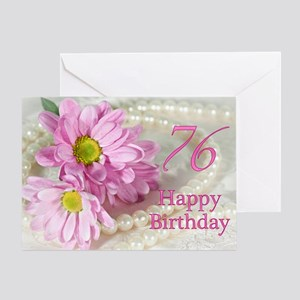 76th Birthday card with daisies Greeting Card