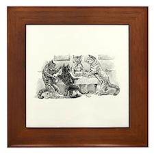 Poker Playing Cats Framed Tile