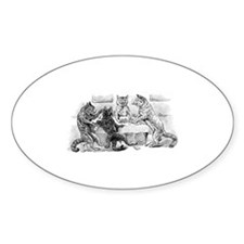 Poker Playing Cats Oval Sticker