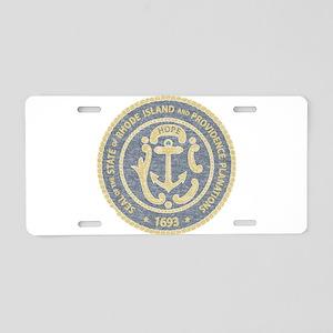 Vintage Rhode Island Seal Aluminum License Plate