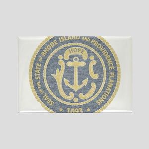 Vintage Rhode Island Seal Rectangle Magnet