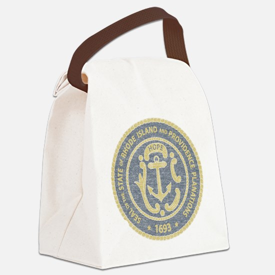 Vintage Rhode Island Seal Canvas Lunch Bag