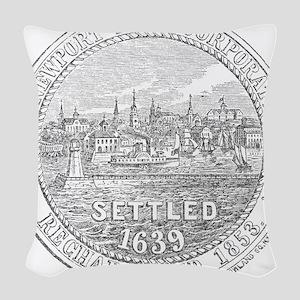 Newport Rhode Island Vintage Seal Woven Throw Pill