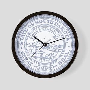 Blue South Dakota State Seal Wall Clock
