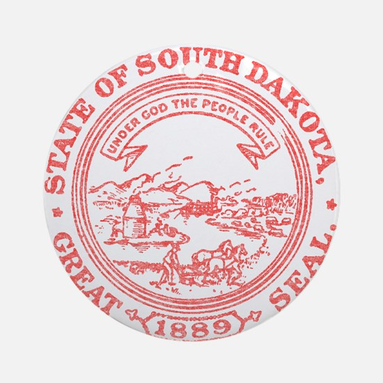 Red South Dakota State Seal Ornament (Round)