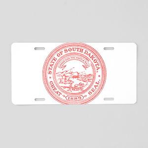 Red South Dakota State Seal Aluminum License Plate