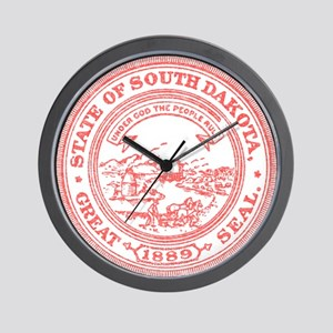 Red South Dakota State Seal Wall Clock