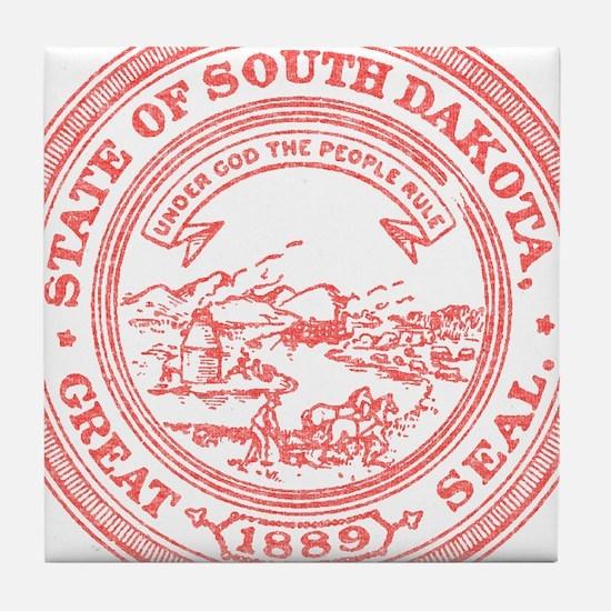 Red South Dakota State Seal Tile Coaster
