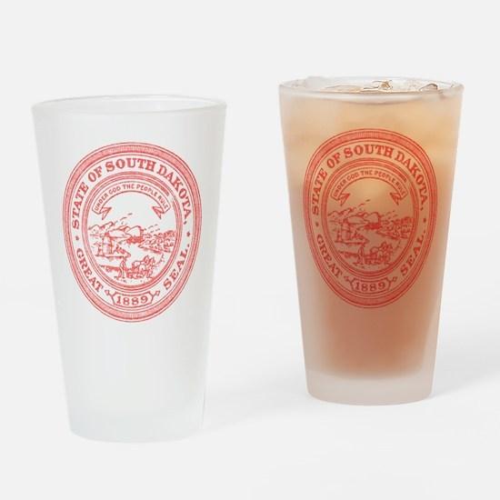 Red South Dakota State Seal Drinking Glass