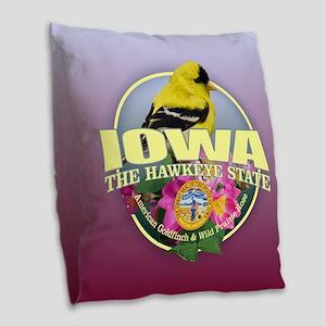 Iowa State Bird & Flower Burlap Throw Pillow