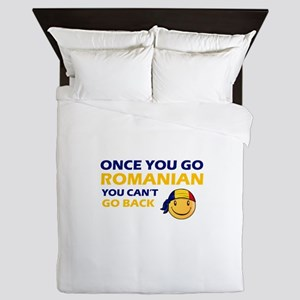 Funny Romanian flag designs Queen Duvet