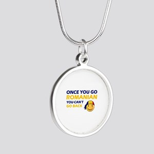 Funny Romanian flag designs Silver Round Necklace