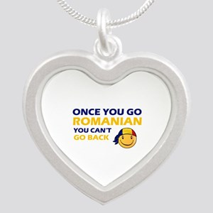 Funny Romanian flag designs Silver Heart Necklace