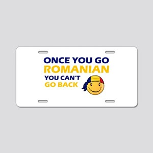 Funny Romanian flag designs Aluminum License Plate