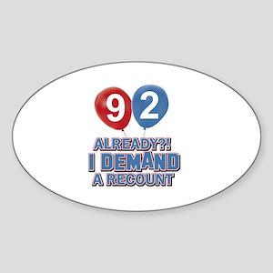 92 year old ballon designs Sticker (Oval)