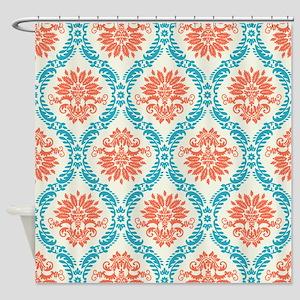 tangerine and aqua damask Shower Curtain