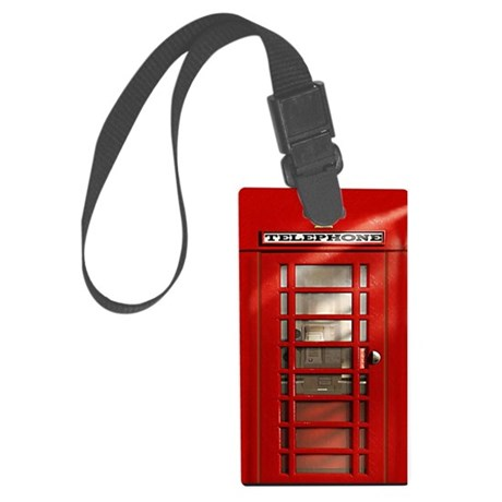 British Red Telephone Box Large Luggage Tag