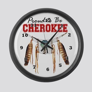 Proud To Be Cherokee Large Wall Clock