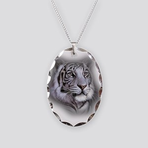 White Tiger Face Necklace Oval Charm