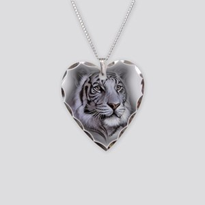 White Tiger Face Necklace Heart Charm