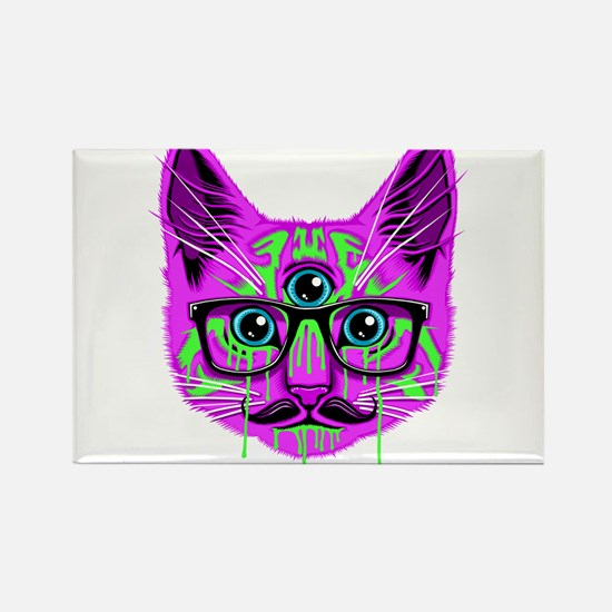 Hallucination Cat Rectangle Magnet