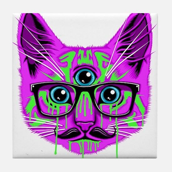 Hallucination Cat Tile Coaster