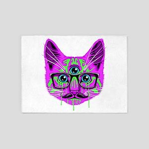 Hallucination Cat 5'x7'Area Rug