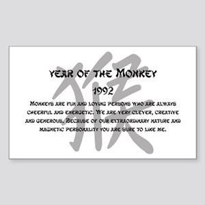 Year Of The Monkey 1992 Sticker (Rectangle)
