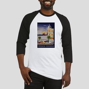 Vintage French Riviera Travel Ad Baseball Jersey