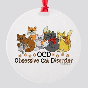 OCD Obsessive Cat Disorder Round Ornament