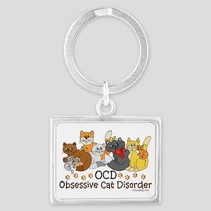 OCD Obsessive Cat Disorder Landscape Keychain