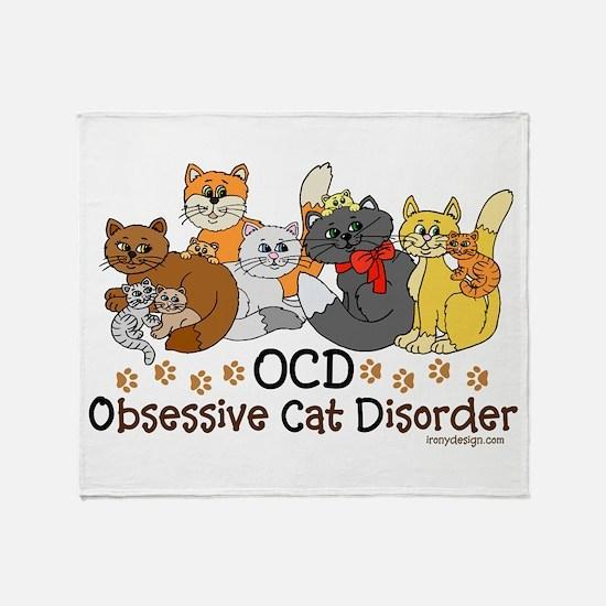 OCD Obsessive Cat Disorder Throw Blanket