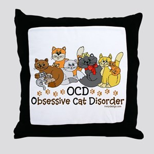 OCD Obsessive Cat Disorder Throw Pillow