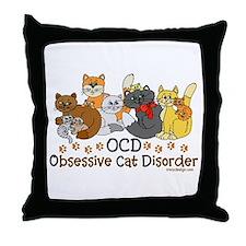 OCD Obsessive Cat Disorder Throw Pillow