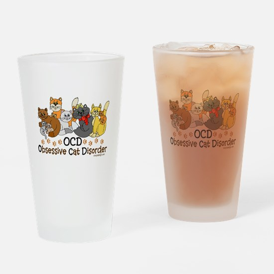 OCD Obsessive Cat Disorder Drinking Glass