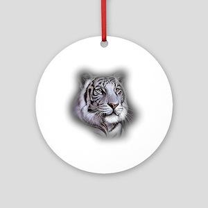 White Tiger Face Round Ornament