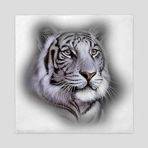 White Tiger Face Queen Duvet